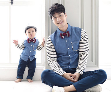 グッデイシャツ+ザ・デイ円形パパと赤ちゃん長袖_15C08