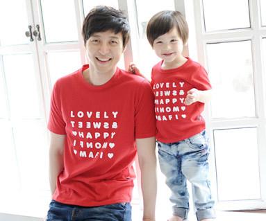 ハッピーパーティー円形パパと赤ちゃんショートTシャツ_13B07