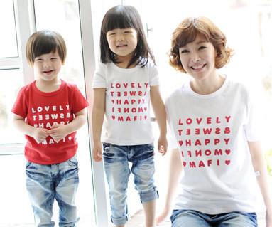 ハッピーパーティー円形の母親と赤ちゃんショートTシャツ_13B07