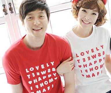 ハッピーパーティー円形カップルショートTシャツ_13B07