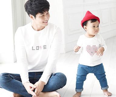 ステッチラウンドパパと赤ちゃん長袖_15C06