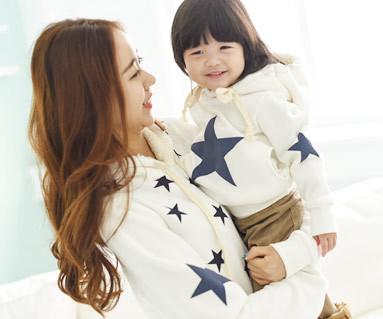 起毛オールスターフード母親と赤ちゃん長袖_14D12