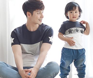 マイスター円形パパと赤ちゃんショートTシャツ_16B12