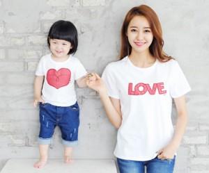 レッドたパッチ円形の母親と赤ちゃんショートTシャツ_14B32