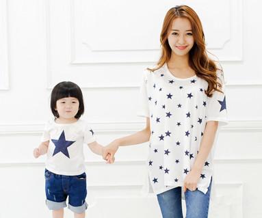 オールスター円形の母親と赤ちゃんショートTシャツ_14B39