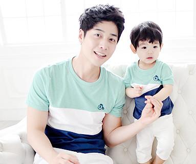 トリニティ円形パパと赤ちゃんショートTシャツ_15B04