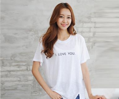 ・ラブ・ユー刺繍円形の女性ショートTシャツ_14B24