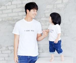 ・ラブ・ユー刺繍円形パパと赤ちゃんショートTシャツ_14B24