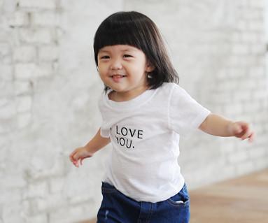 ・ラブ・ユー刺繍円形の赤ちゃんショートTシャツ_14B24