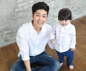 オックスフォードシャツホワイトパパと赤ちゃん長袖_14C15