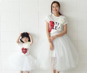 カップルハートママと赤ちゃんショートTシャツ_16B21