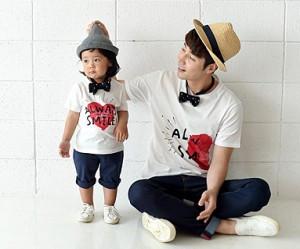 カップルハートパパと赤ちゃんショートTシャツ_16B21