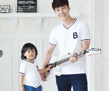 サマースクール家族パパと赤ちゃんショートTシャツ_16B11