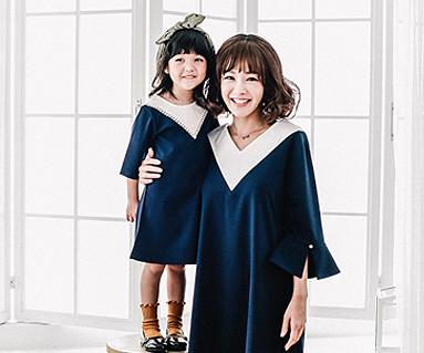 ビクトリアファミリーのお母さんと赤ちゃんの長袖_16C05