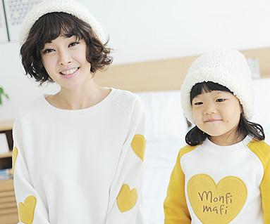 起毛オリーブマンツーマン母親と赤ちゃん長袖_13D02