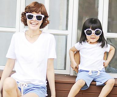 クリーンクリーン円形の母親と赤ちゃんショートTシャツ_13B28