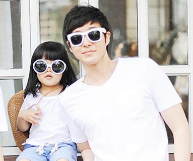 クリーンクリーン円形パパと赤ちゃんショートTシャツ_13B28