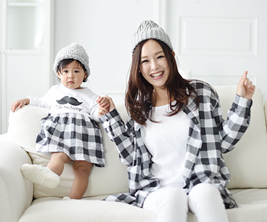 モダンチェック母親と赤ちゃん長袖_16A05