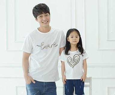 デニムロープ円形パパと赤ちゃんショートTシャツ_14B31