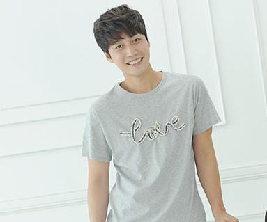 デニムロープ円形の男性ショートTシャツ_14B31