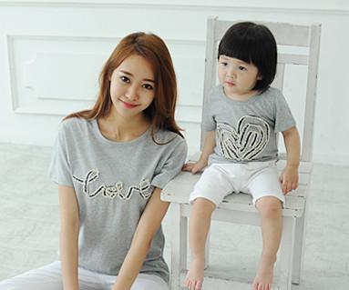 """デニムロープ円形の母親と赤ちゃんショートTシャツ_14B31 <font color=""""#FF6666""""><strong>[オーダー可能】</strong></font>"""