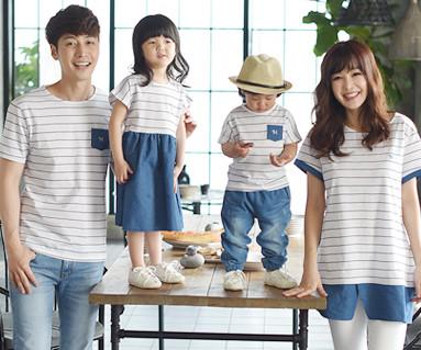 子供ブルー家族ショートTシャツ_16B05