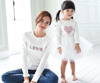 ステッチラウンドママと赤ちゃんの長袖_15C06