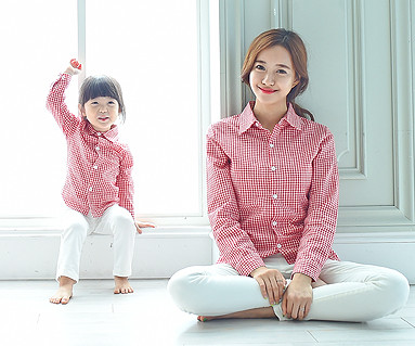 チェックシャツコンボママと赤ちゃんの長袖_15C11