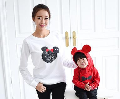 ミニーマウス家族の母親と赤ちゃん長袖_14C08