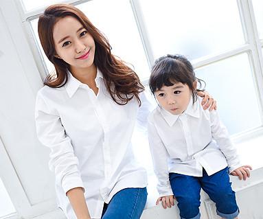 オックスフォードシャツホワイト母親と赤ちゃん長袖_14C15