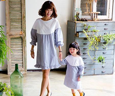 ロココファミリーのお母さんと赤ちゃんの長袖_16C14