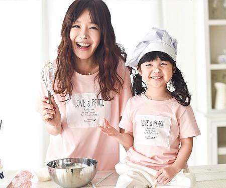 フィッシュラウンドママと赤ちゃんショートTシャツ_16B02