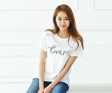 デニムロープ円形の女性ショートTシャツ_14B31