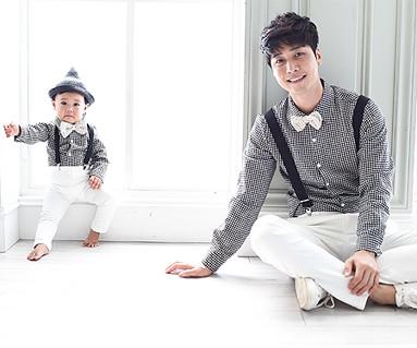 チェックシャツコンボパパと赤ちゃん長袖_15C11