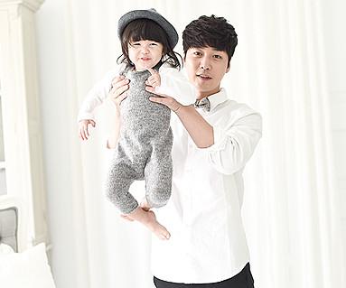 ワンデー家族+オックスフォードシャツパパと赤ちゃん長袖_14D02