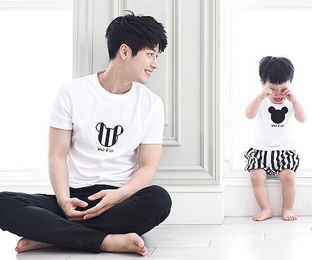 ミニ家族パパと赤ちゃんショートTシャツ_15B28