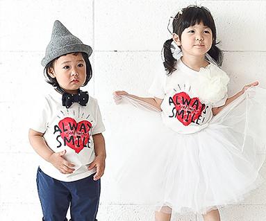 カップルハート赤ちゃんショートTシャツ_16B21