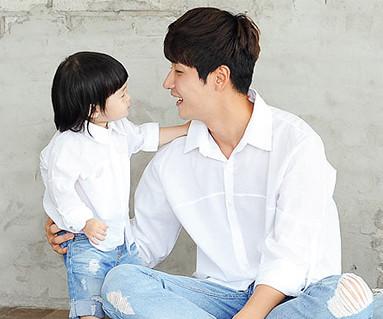 隠しポケットシャツパパと赤ちゃんショートTシャツ_14B23