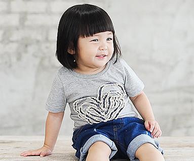 デニムロープ円形の赤ちゃんショートTシャツ_14B31