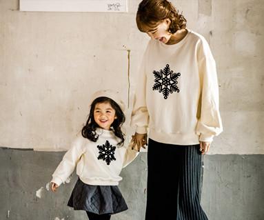 起毛ポンポン雪ママと赤ちゃんの長袖_17D08