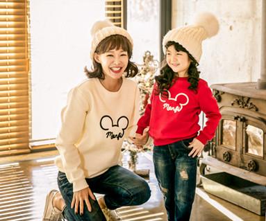起毛モンピマウスの母親と赤ちゃん長袖_17D07
