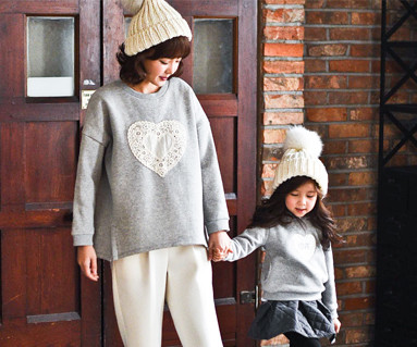 起毛コットンファミリーのお母さんと赤ちゃんの長袖_16D04