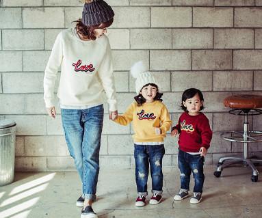 起毛ラブブクル刺繍ラウンドTママと赤ちゃんの長袖_16D05