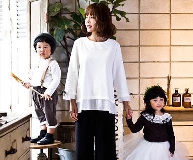 リボンポイントファミリーのお母さんと赤ちゃんの長袖_16C04