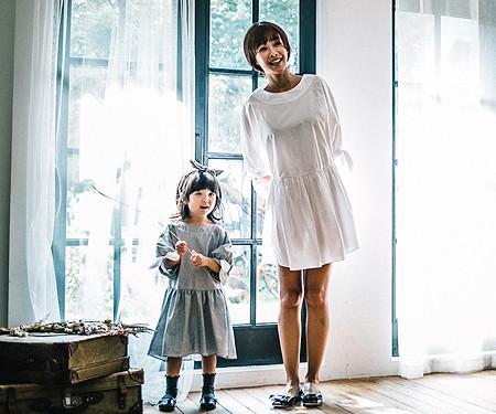 バルーン袖母親と赤ちゃん長袖_16C01