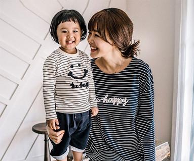 ハッピーダンガラファミリーのお母さんと赤ちゃんの長袖_16C15