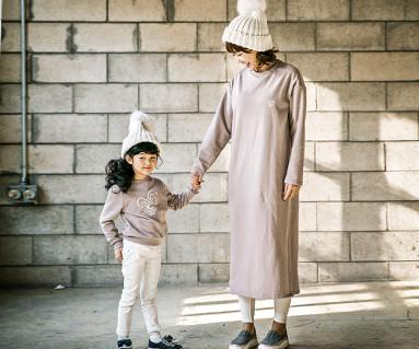 起毛モンピベース母親と赤ちゃん長袖_17D06