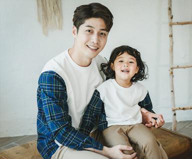 バレーチェックパパと赤ちゃん長袖_17C01