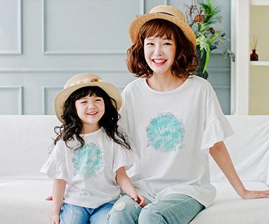 ブルーマリンママと赤ちゃんショートTシャツ_17B09WK