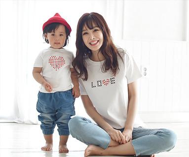 ステッチラウンドママと赤ちゃんショートTシャツ_16B01WK